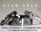 STAR TREK Tungsten and 925 Sterling Silver 1.15 Carat CZ Wedding Ring Set, 8mm Star Fleet Insignia All Custom Engraved