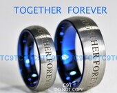 Doctor Who Inspired 6MM & 8MM Tungsten Wedding Ring Set - Brushed Silver Outside, Deep Ocean Blue Inside
