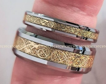 Tungsten Celtic Gold Dragon Scroll Couples Wedding Set In Exquisite Detail, Men's 8MM And Woman's 4MM Bands, Free Inside Engraving