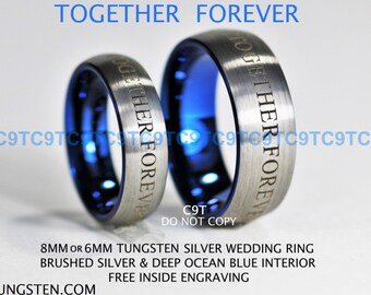 8MM Tungsten Ring Silver High Polish Pipe Cut With Double Deep Ocean Blue Infinity Groove Free Inside Engraving Doctor Who Inspired