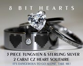 Legend Of Zelda 8 Bit Hearts- Tungsten With CZ and 925 Sterling Silver 1.3 Carat TW CZ Heart Wedding Rings, 8mm Men's ring All Engraved
