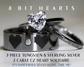 Zelda Inspired 8 Bit Hearts- Tungsten CZ and 925 Sterling Silver 1.25 Ct TW  Heart Wedding Ring 3 piece Set, 8mm Men's - All Custom Engraved