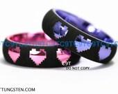 Tungsten Wedding Ring 6MM Dome Legend of Zelda Inspired 8-Bit Heart Design, Pink Or Sunset Purple
