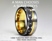 BIOSHOCK Inspired , Striking Mens 10MM Tungsten Wedding Ring
