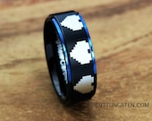 8MM LEGEND of ZELDA 8 Bit Hearts Black Interior With Blue Step Wedding Ring
