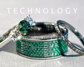 CIRCUIT BOARD - Modern 3 Piece Men's 10MM Tungsten & Woman's Rhodium Plated 925 Sterling Silver 3 Stone CZ Ring With 2MM Band