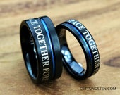 Doctor Who Inspired 10MM & 6MM Tungsten Wedding Set, Brushed Black With Deep Ocean Blue Infinity Groove, Free Inside Engraving
