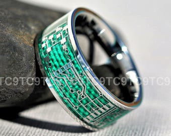 circuit board ring etsycircuit board men\u0027s 10mm tungsten and silver circuit board inlay design with green carbon fiber free engraving