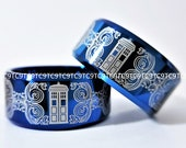 12MM, Free Engraving, Top Quality Tungsten Carbide Deep Ocean Blue High Polish Beveled Doctor Who Design