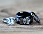 Tungsten Wedding Ring Set - ROCKER BIKER SKULL 3 Piece Set Custom Engraved