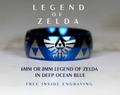 Top Quality Tungsten Wedding Ring, Deep Ocean Blue, 8mm Or 6mm Dome Legend of Zelda Design Custom Engraved