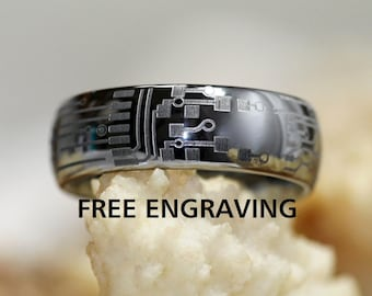 circuit board ring etsytop quality tungsten ring, 4mm, 6mm,8mm circuit board high polish dome ring