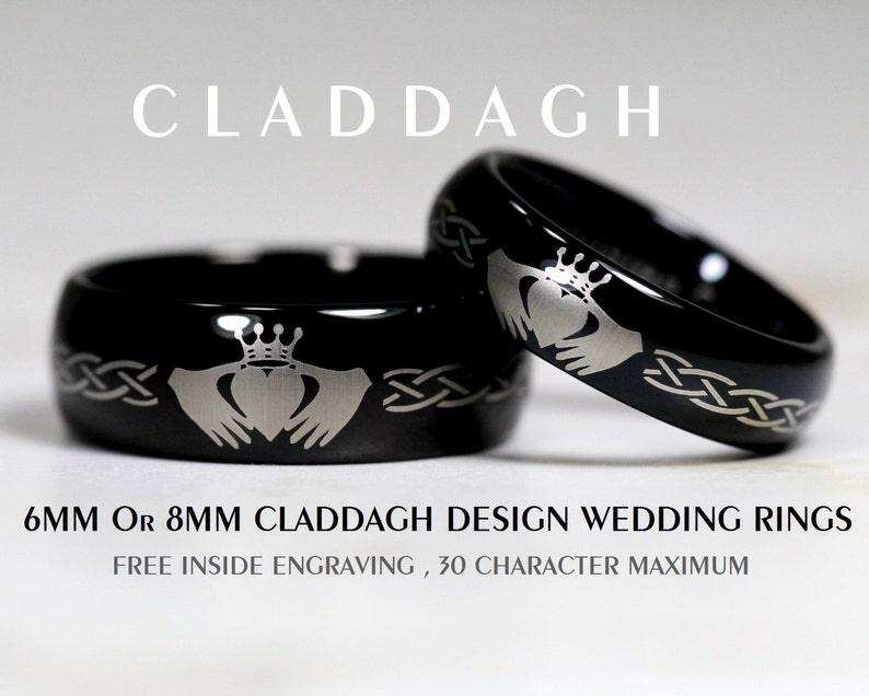 Tungsten 6MM or 8MM Black Dome Claddagh Design With FREE Inside Engraving