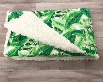 Summer Blanket. Baby Blanket Tropical Leaf. Gender Neutral Baby. Green Baby Blanket. Baby Boys. Baby Girls