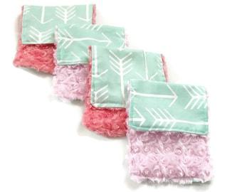 Set of 4 Mint Arrow Burp Cloths, Baby Girl's Burp Cloth Set, Girl, Burp Cloths, Arrow, Mint Pink Coral, Baby Girl, Baby Shower Gift