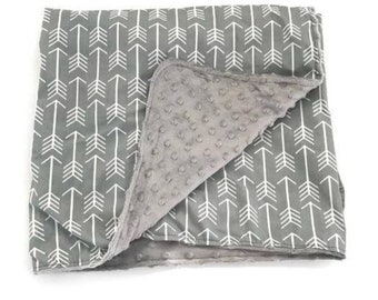Adult Blanket Arrow. Gray Blanket. Tribal Blanket. Throw Blanket, Twin Bed Blanket. Faux Fur Blanket. BizyBelle