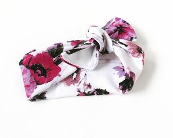 Gorgeous Baby Girl's Tie-Knot Headband, Stripe Floral, Baby Headband, Baby Turban, Baby Girl, Gift, BizyBelle