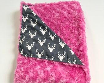 Medium Deer Baby Girl's Blanket • Deer Baby Blanket • Pink Deer Blanket • Faux Fur • Baby Shower Gift • Receiving Blanket, BizyBelle