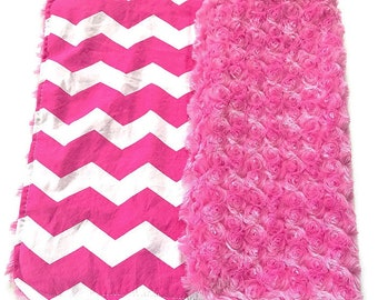 Girl's Baby Lovey Blanket, Pink Baby Blanket, Chevron, Baby Girl's Lovey, Carseat Blanket, Security Blanket, Baby Shower Gift, BizyBelle