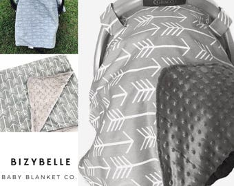 Baby Carseat Canopy Arrow. Gray Carseat Canopy. Gender Neutral Baby. Baby Shower Gift. BizyBelle