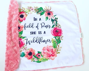 Baby Girls Minky Blanket Floral Field of Roses She is a Wildflower Coral Pink Luxury Chic Baby Shower Gift BizyBelle