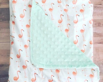 Flamingo GIRLS BLANKET, Flamingo Blanket, Twin Bed Blanket, Adult Blanket, Blanket, Flamingo, Girl, Teen, Kids, Minky, Gift