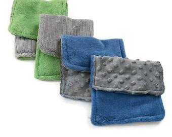 Set of 4 Baby Boy's Burp Cloths, Burp Cloth Set, Baby Boy, Minky Baby, Baby Burp Cloth, Blue Gray, BizyBelle, Baby Shower Gift