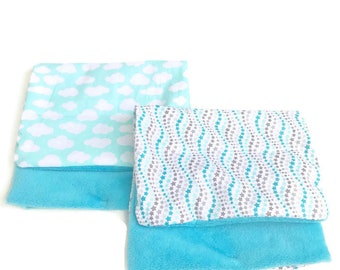 Gender Neutral Baby Burp Cloth Set, Baby Burp Cloths, Blue Gray, Star, Cloud, Minky Baby, Baby, Gift, BizyBelle
