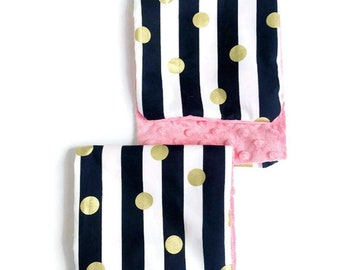 Set of 2 Girls Burp Cloths, Chic Baby Girl's Burp Cloth Set, Burp Cloths, Girl, Black White Gold Coral, Minky Baby, BizyBelle, Gift,