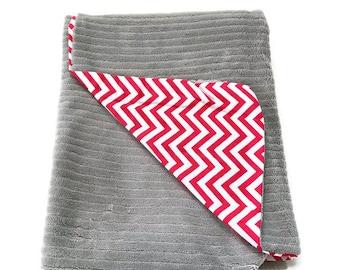 Gorgeous Gender Neutral Baby Blanket, Chevron Baby Blanket, Red Gray Baby, Blanket, Receiving Blanket, Minky Baby, Baby, Boy, Girl, Gift