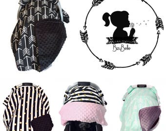 Carseat Canopy • Carseat Covers • Chic Modern • Carseat Cover • Boys • Girls • Baby • You Pick Fabric • Minky • Gift • BizyBelle