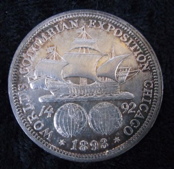 1893 Columbian Expo Commemorative Silver Half Dollar VF//XF