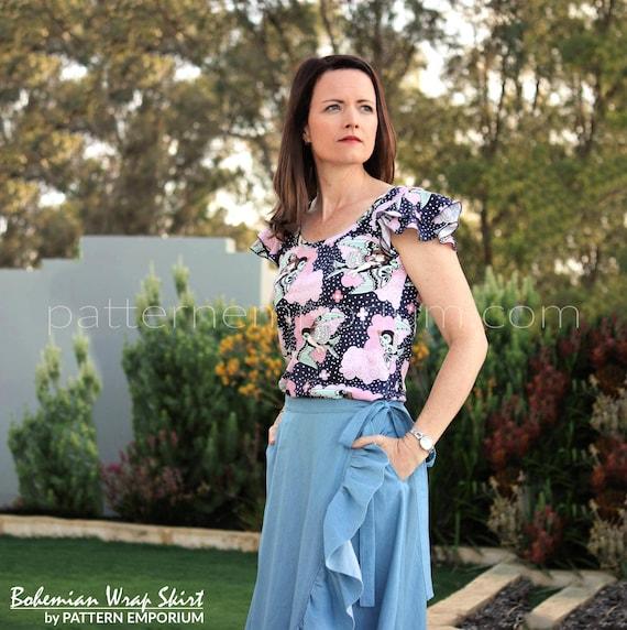Pattern: Ladies Bohemian Wrap Skirt PDF Sewing | Etsy