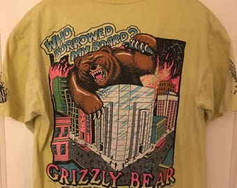 Men's Vintage Large Grizzly Bear Surfboards T-Shirt Neon Yellow 80s