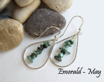 Emerald Earrings, May Birthstone, May Birthday Gift, Personalized Gift, Sterling Silver Earrings, Gift For Her, Emerald Gift, Birthstone
