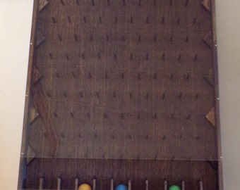 Plinko board, plnko game, ball drop, prize game, board game, wooden handmade game, game room, parties and events, game for all ages