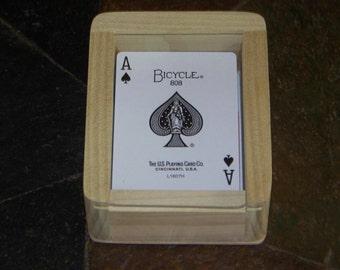 Playing card holder, playing card case, playing card box, playing card rack, playing card display, canasta, bridge, rummy, poker, card game