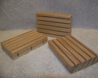 Pine soap dishes, lot of 3, plenty of drainage slots to keep your homemade soap dry, unfinished and natural