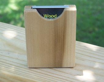 Business Card Holder Handcrafted Wooden Pocket Briefcase Purse Desk