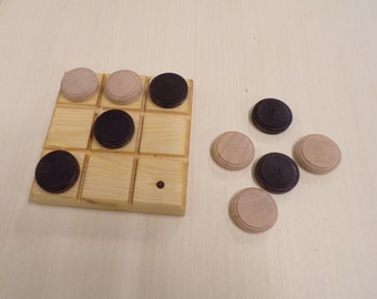 Tic tac toe, classic board game, handmade wooden game, family games, party games, portable games,