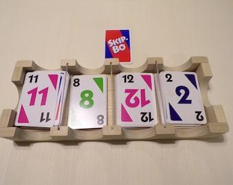 Skip bo card rack, 4 place skip bo game card rack, playing card holder, card rack, draw and discard rack, playing card gift, game room