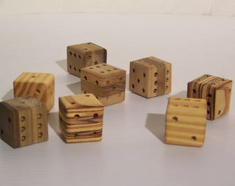 Dice, handmade dice, wooden dice, large dice, lawn dice, yahtzee, dice game, old fashioned dice, ten thousand, board game, table top game