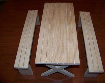 "Doll picnic table and benches for 12"" dolls"