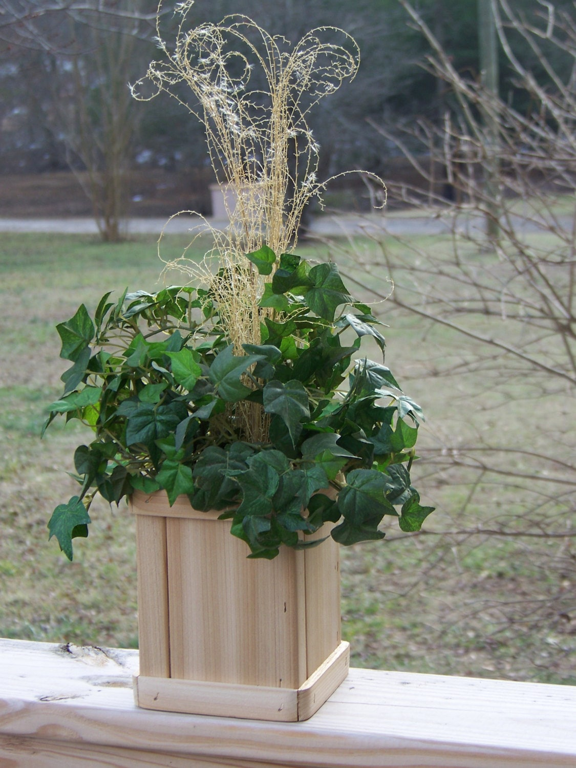 Picture of: Cedar Planter Deck Planter Flower Pot Indoor Outdoor Patio Planter Planter Box Nice Addition To Your Home Or Office Valentine S Day