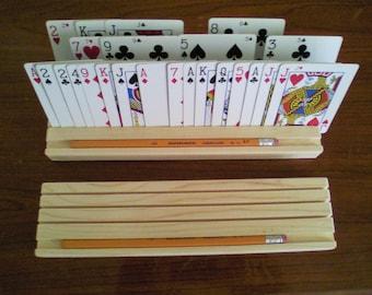 Playing Card Holder, Playing card rack, Euchre set, Rummy card games, Poker set, Bridge, Canasta, Arthritis Aids, card games, wooden game