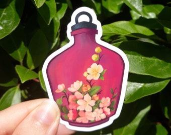 "Blossom Bottle - Magical Terrarium 3"" Vinyl Sticker   Cute Sticker, Best Friend Gift, Water Bottle Sticker, Car Sticker, BuJo, Laptop Decal"