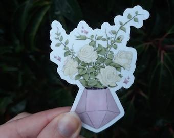 Gemstone Flower Planter Vinyl Sticker   Cute Stickers, Best Friend Gift, Water Bottle, Car Sticker, BuJo, Bullet Journal, Laptop Decal