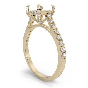 14k gold art deco scrolls engagement 14k Gold Engraved Solitaire Ring Mounting Setting 6 Prong ring mounting ring setting for one carat