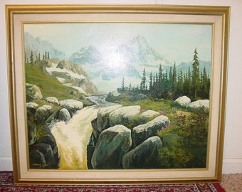 Original Oil Painting Landscape -Sierra Mt. Valley- Donald Neff, Listed by Artist