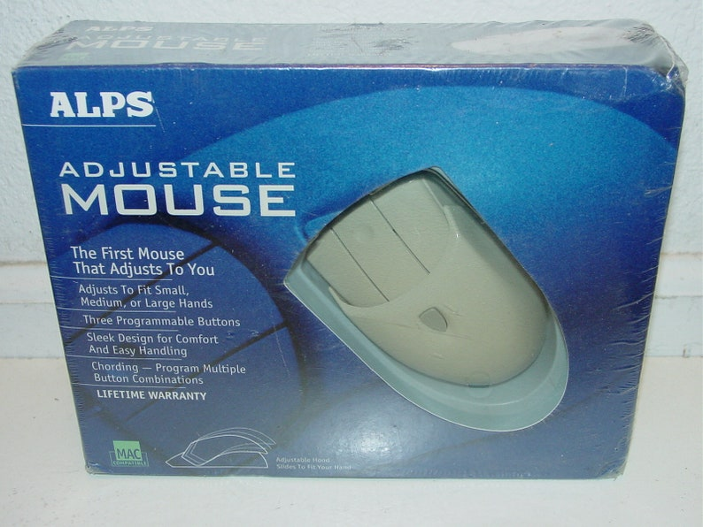 Vintage ALPS Adjustable 3-Button Ball Mouse w/ Programmable for Windows PC  & Mac New